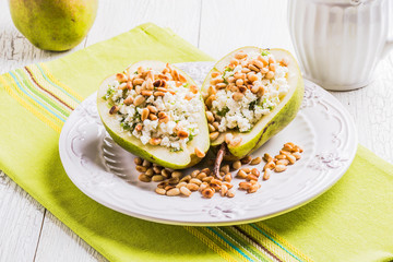 Breakfast of pears with cheese