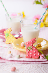 Easter cookies and glass of milk