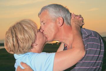 A portrait of a loving senior couple