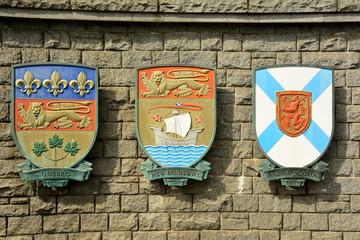 Coat of arms for Quebec, New Brunswick, Nova Scotia.