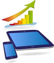 Smartphone, Tablet und Säulendiagramm, Vektor