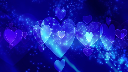 Blue Hearts and Particles Looping Valentines Day Animation