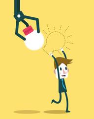 Robot hand stealing idea light bulbs from businessman. vector