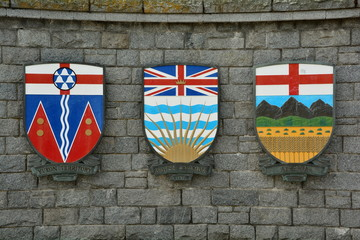 Coat of arms for the Yukon and British Columbia and Alberta.