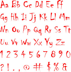 Scribbled in Blood Alphabet Letters