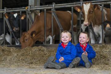 kinderen werken op de kinderboerderij