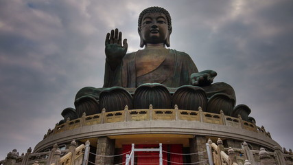 cloudy day sky giant buddha statue 4k time lapse from hong kong