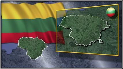 Lithuania flag and map animation