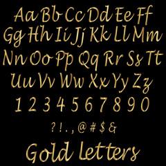 Shiny Golden Alphabet Letters