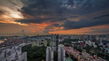 singapore sunset sky city panorama 4k time lapse