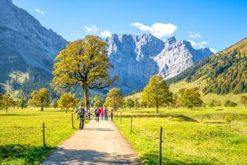 Wanderweg und Wanderer mit Bergkette
