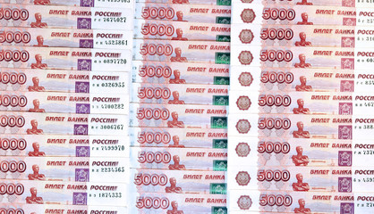 Background from set of banknotes of five thousand Russian rubles