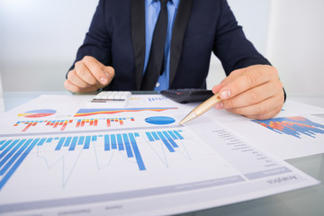 Businessman Analyzing Graph Papers