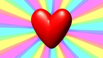 Love heart with rainbow waves seamless loop video