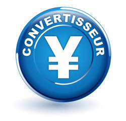 convertisseur yen sur bouton bleu
