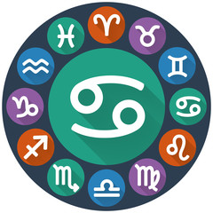 Signs of the zodiac circle - Cancer. Astrological flat icon