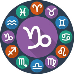 Signs of the zodiac circle - Capricorn. Astrological flat icon
