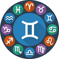 Signs of the zodiac circle - Gemini. Astrological flat icon