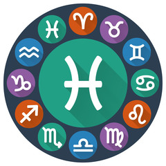 Signs of the zodiac circle - Pisces. Astrological flat icon