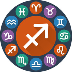 Signs of the zodiac circle - Sagittarius. Astrological flat icon