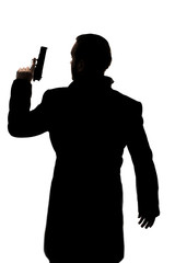 Man with gun silhouette
