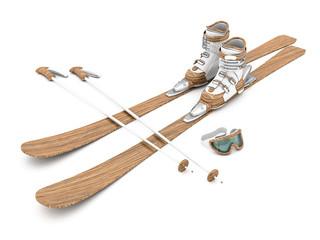 beautiful wood skiing