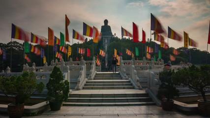day light tian tan buddha statue 4k time lapse from hong kong
