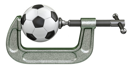 Soccer ball squeezing in a G-clamp