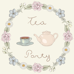 Tea party floral frame