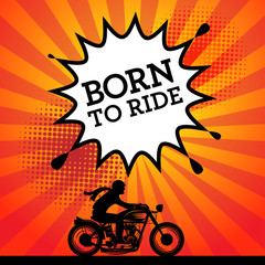 Comic explosion with text Born to Ride, vector