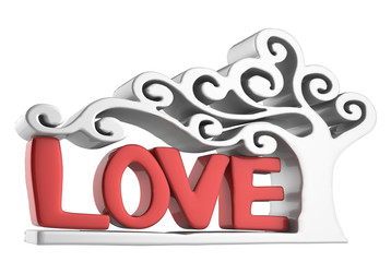 3D love text on white background