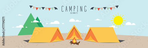 illustration vector of a campsite. (Day) - 77704271