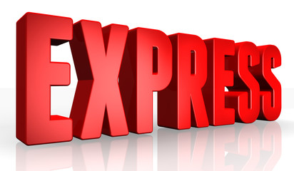 3D express text on white background