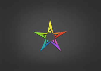 Stars Logo  Sucsess logo  team Work icon community abstract