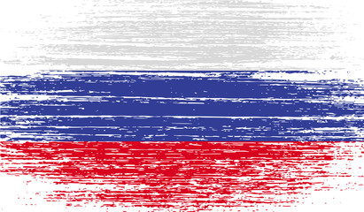Flag of Russia with old texture. Vector