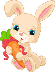 Rabbit holds carrot