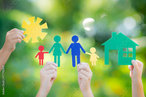 House and family in hand - 77705808