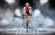 Sport. Cyclist has a traning in the wind tunnel - 77706022