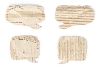Old cardboard paper speech bubble set isolated on white