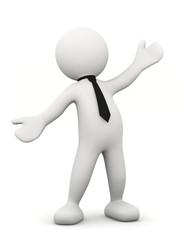 omino bianco con braccia aperte e cravatta