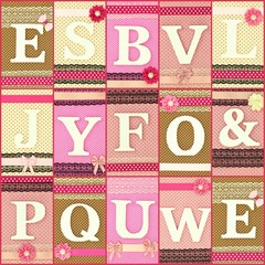 Various wooden letters on polka dots background