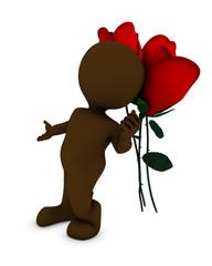Morph man with rose