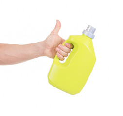 A yellow Detergent Bottle With Copy Space/ Isolated On White/ Ve