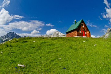 Mountains and small wooden house on green field, Montenegro