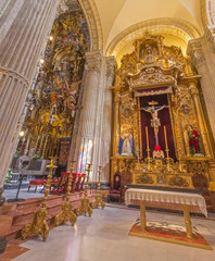 Seville - The side altar  in baroque Church of El Salvador