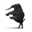 Businessman lifting heavy elephant isolated on white