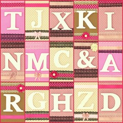 Various wooden letters on polka dots collage background