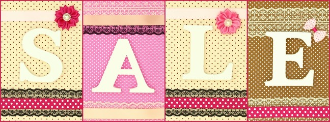 Word Sale with wooden white letters on polka dots background