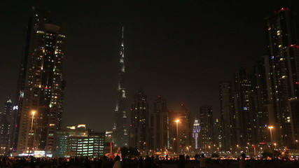 Dubai Downtown view at night