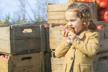 Cute little preschooler girl eating an apple on beautiful autumn